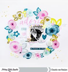 Layout using the 'With All My Heart' collection from Pretty Little Studio. Process video: https://www.youtube.com/watch?v=59ZslseQg0c #scrapbooking #papercraft #prettylittlestudio #withallmyheart