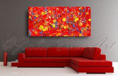Red Abstract Painting, Large Art Print, Splash Color, White, Yellow, Orange, Red Home Decor, Contemporary Art, Modern Wall, Julia Apostolova by juliaapostolova. Explore more products on http://juliaapostolova.etsy.com