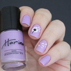 Esmalte Zara da Harina Nail Polish + Película artesanal de dente de leão | Unhas Lilás | Lilac Nails | Delicada | Dandelion nail art | Stamp Nail design by @morganapzk