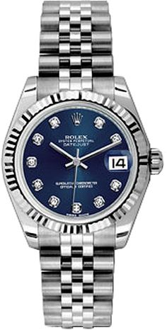 178274  ROLEX LADY-DATEJUST 31 LUXURY WOMENS WATCH  IN STOCK - Click to View Mother's Day Luxury Watch Sales Event   - FREE Overnight Shipping | Lowest Price Guaranteed    - No Sales Tax (Outside California) - With Manufacturer Serial Numbers- Blue Diamond Dial- 18K White Gold Fluted Bezel -   Self Winding Automatic Movement- 6 Year Warranty- Guaranteed Authentic - Certificate of Authenticity- Polished with Brushed Steel Case