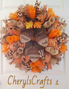 Fall Mesh Wreath,Fall Burlap Wreath,Fall Door Wreath,Happy Fall Wreath,Welcome Wreath,Autumn Wreath by…