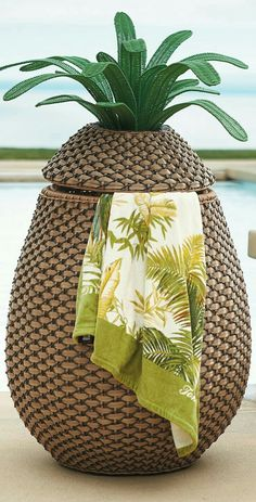 This tropical towel hamper 13 Crazy Pool Accessories That Totally Redefine Cool Crazy Pool, Tropical Pool Landscaping, Landscaping Ideas, Tropical Backyard, Backyard Landscaping, Decorative Leaves, Pool Games, Pool Toys, Pool Decks