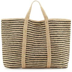 Vix Woven Striped Beach Tote Bag (9,310 DOP) ❤ liked on Polyvore featuring tops, bags, bolsas, black, woven top, stripe top, flat top, logo top and striped top