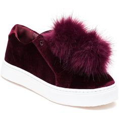 SAM EDELMAN Leyla Wine Velvet Pom Pom Sneaker ($100) ❤ liked on Polyvore featuring shoes and sneakers