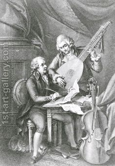 Portrait of Franz Joseph Haydn 1732-1809 and Wolfgang Amadeus Mozart 1756-91 composing music for the lute, engraved by Michele Benedetti 174...