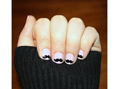 Nail polish idea: mini mustaches!    Cute variation on a French Manicure?