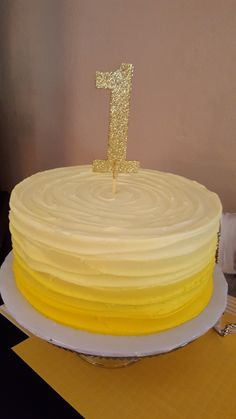 First birthday cake. Yellow. Ombre. 1st. You are my sunshine.