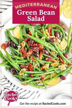 This salad recipe is a far cry from the usual. With eye-popping flavor, Mediterranean green bean salad is so fantastic, you'll want to eat it every day. Picture this: Crisp, bright green beans, briny burgundy-colored kalamata olives, flavor-packed sun-dried tomatoes, and crunchy toasted walnuts. Pretty great so far, right? Now imagine that topped with a perfectly balanced, garlicky, lemony vinaigrette, with flecks of fresh oregano. So good! This side dish is perfect for summer meals. Healthy Salad Recipes, Whole Food Recipes, Vegetarian Recipes, Small Tomatoes, Dried Tomatoes, Green Beans With Bacon, Green Bean Salads, Usda Food, Eating Raw