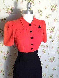 Vintage Coral and Black Rayon Swing Dress Doris Dodsonon 1940s Fashion, Timeless Fashion, Vintage Fashion, Vintage Dresses, Vintage Outfits, Vintage Clothing, 40s Style, Retro Style, Vintage Style