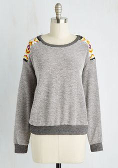 Weave Got the Beads Top. Bopping along to your own beat in this knit pullover is simply irresistible! #grey #modcloth