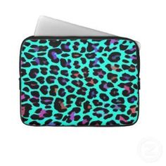 Turquoise Pop Leopard Print Computer Sleeve from Zazzle.com