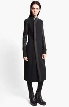 Rick Owens Long Leather Trim Coat available at #Nordstrom