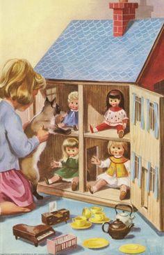 Aitchison - for Peter And Jane 'We Like To Help' (Ladybird) Vintage Dollhouse, Vintage Dolls, Vintage Children's Books, Vintage Cards, Little Doll, Little Girls, Illustrations Vintage, Images Vintage, Ladybird Books