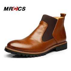 MRCCS Brand Spring/Autumn Fashion Men's Chelsea Boots,British Style Fashion Ankle Boots,Black/Red Brogues Leather Casual Shoe  #Affiliate