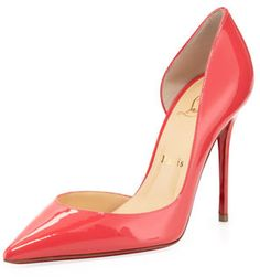 $625, Christian Louboutin Iriza Patent Pointy Dorsay Red Sole Pump Pink. Sold by Neiman Marcus. Click for more info: https://lookastic.com/women/shop_items/19677/redirect