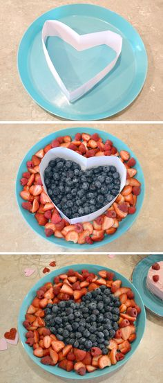 Easy Heart Fruit Platter for any kids' party or Valentine's Day! … Easy Heart Fruit Platter for any kids' party or Valentine's Day! Make a heart shaped fruit tray using a simple paper outline. Valentines Day Food, Kinder Valentines, Kids Valentines Party Food, Valentine Decorations, Valentine Treats, Valentinstag Party, Dessert Aux Fruits, New Fruit, Kids Fruit