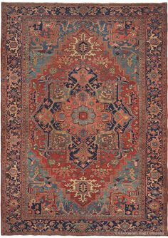NEW ARRIVAL!  This opulent rendition of the beloved Persian Serapi medallion carpet is resplendent with large scale motifs and sumptuous, deeply saturated color.  Rare accent hues including teal and glistening azure to sky blue are welcome highlights.  Rhythmic abrash color striation adds to its pastoral refinement.  Versatile dimensions and very good floor condition make this striking Oriental Persian carpet the perfect choice where casual elegance is desired.