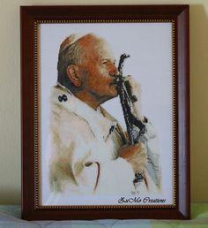 Pope John Paul II   cross stitch poster