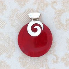 Red Coral Round Shaped Pendant .925 Sterling Silver