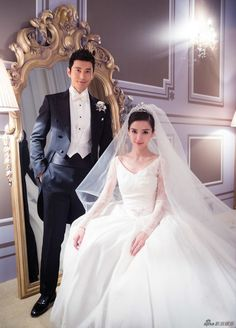 Huang Xiao Ming and Angelababy's official wedding ceremony Most Expensive Wedding Dress, How To Dress For A Wedding, One Shoulder Wedding Dress, Angelababy Wedding, Dior Wedding Dresses, Celebrity Wedding Gowns, Valentino Gowns, Wedding Expenses, Dianna Agron
