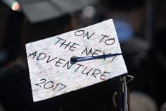 "UNH Commencement 2017 in Wildcat Stadium - travel-inspired mortarboard / graduation cap ""On to the next adventure"""