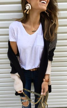 #winter #outfits white v-neck top