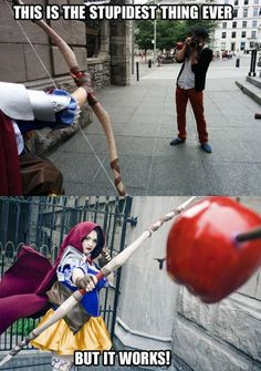 """Stupidest thing ever""?! That's bloody brilliant! Love the Red Riding Hood cosplay too"