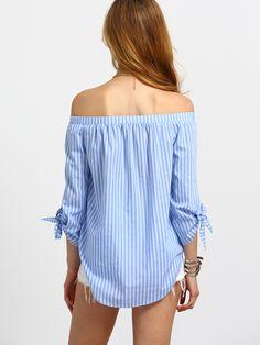 Blusa rayas hombro al aire -azul-Spanish SheIn(Sheinside) Sitio Móvil