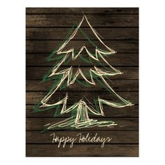 Rustic Barnwood Pine Tree Corporate PostCard