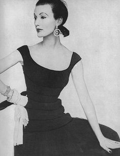April Vogue 1953    Mary is wearing a soft black chiffon dress by Ceil Chapman.