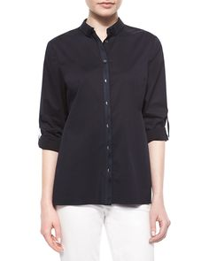 Helena Button-Front Shirt, Navy - Elie Tahari