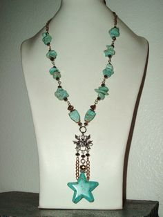 Chunky Turquoise with Copper Crystal and by extravagantdesigns, $60.00