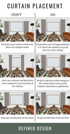 The do's and don'ts of curtain placement. How to hang your curtains the right way. The rules and guidelines to hanging your curtain and curtain rod. curtains THE DO'S + DON'TS OF CURTAIN PLACEMENT Bedroom Windows, Bedroom Window Curtains, Home Curtains, Small Window Curtains, Living Room Blinds And Curtains, Curtains And Blinds Together, Window Treatments Living Room Curtains, Apartment Curtains, Glass Door Curtains