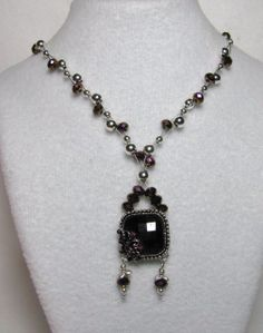 CLOSE UP - Item 1356 - Deep Swarovski Violet Crystal & Silver Beads with Deep Violet Crystal Glass Pendant Necklace Weave $44 + $6 S&H.  Visit all my BEAUTIFUL jewelry pages, just follow the link: https://www.facebook.com/linda.foust.9?sk=photos...