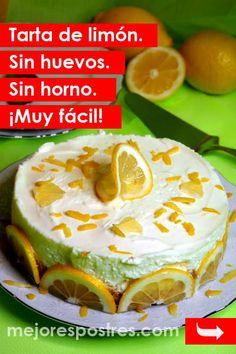 Tarta de limón. Sin huevos. Sin horno. ¡Muy fácil! Bake Sale, Carrot Cake, Carrots, Deserts, Pie, Pudding, Candy, Chocolate, Baking