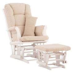 I'm learning all about Stork Craft Custom Tuscany Glider and Ottoman w/FREE Lumbar Pillow - White Beige at @Influenster!