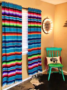 Fiesta Curtain Panel (set of more colors) – Red Dirt Revivals Mexican Home Decor, Retro Home Decor, Diy Home Decor, Mexican Bedroom Decor, Mexican Kitchen Decor, Mexican Decorations, Mexican Kitchens, Western Style, Western Decor