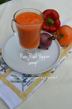 Raw Red-Pepper Soup For One Thanks for sharing at vegetarianmamma.com's #glutenfreefridays link up!  #glutenfree #gfree #gf