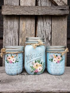 Your place to buy and sell all things handmade Boho Flower Hand Painted Mason Jars, Mason Jar Centerpieces Mason Jar Art, Pint Mason Jars, Mason Jar Crafts, Bottle Crafts, Chalk Paint Mason Jars, Painted Jars, Hand Painted, Jar Design, Diy Easter Decorations