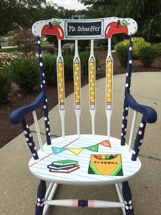 Teacher Rocking Chair, Custom Teacher Chair, Hand Painted Teacher Chair - LOCAL to NEW JERSEY - Convo before ordering to arrange delivery Teacher Stools, Classroom Stools, Classroom Projects, Classroom Themes, Future Classroom, Teacher Table, Classroom Furniture, Teacher Rocking Chairs, Painted Teacher Chair