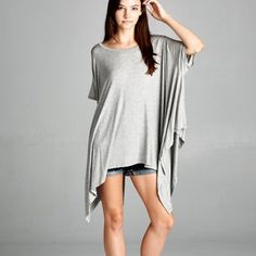 """Chase the Wind"" Asymmetrical Top Asymmetrical top. Available in heather grey, navy, lilac, charcoal and dusty pink. One size fits most (XS-XL). Brand new. Bare Anthology Tops Tees - Short Sleeve"