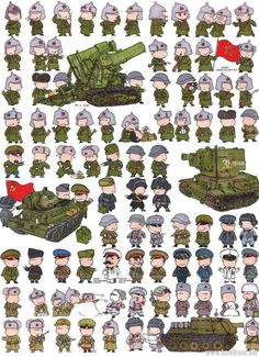 Red Army in WWII, Cartooned. Military Drawings, War Comics, Game Character Design, Red Army, Panzer, Military Art, Dieselpunk, Caricatures, World War Ii