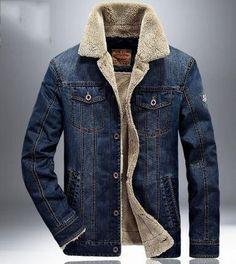Brand Jeans Jackets Men Winter Warm Bomber Denim Jacket Men Plus Size Thick Warm Cowboy Windbreaker Male Jaqueta masculina Sherpa Denim Jacket, Denim Jacket Fashion, Lined Denim Jacket, Denim Jacket Men, Men's Denim, Denim Jackets, Bomber Jacket, Jackets Fashion, Denim Style