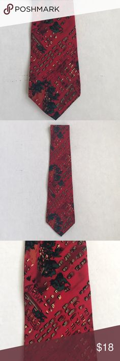be3e773d03c8 Vintage Jerry Garcia Tie Tie is 100% silk. Color is predominantly red with a