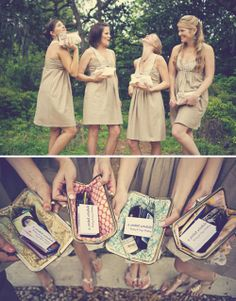 bridesmaids' gift of clutches with essentials for the day & a sweet thank you note. love it :)