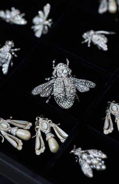Making Of The Chanel Spring/Summer 2016 Haute Couture Press Kit. Photographed By: Karl Lagerfeld. Bee Jewelry, Insect Jewelry, Chanel Jewelry, Jewelery, Vintage Jewelry, Silver Jewelry, Jewellery Bracelets, Gemstone Jewelry, Karl Lagerfeld