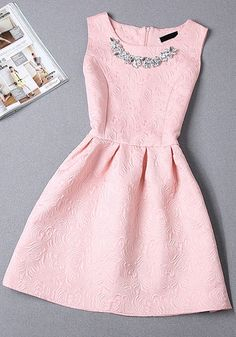 Pink Plain Pleated Rhinestone Round Neck Sleeveless Mini Dress