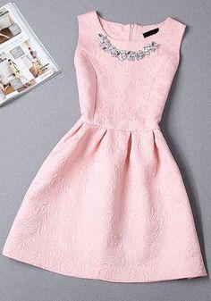 Pink Plain Pleated Rhinestone Round Neck Sleeveless Mini Dress