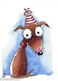 ACEO-Original-watercolor-whimsical-painting-illustration-art-dog-puppy-birthday