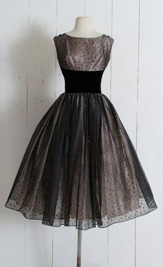 33b9856a3b2fc Vintage 1950s Dress vintage 50s pink black chiffon glitter Vintage Dresses  50s
